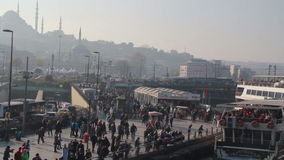 Istanbul city/eminönü bridge /crowd / People/ time lapse/istiklal street/ december 2015. Crowd /eminönü bridge / People/ time lapse/december 2015 / istanbul stock footage