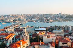 Istanbul city from Galata tower in Turkey. Istanbul city view from Galata tower in Turkey royalty free stock photos