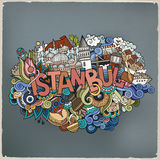 Istanbul city hand lettering and doodles elements Stock Photos