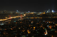 Istanbul City Lights And Bosphorus Bridge Stock Images