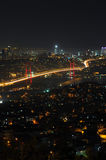 Istanbul city lights and bosphorus bridge Royalty Free Stock Photography