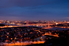 The Bosphorus Bridge at Night. A night view of Istanbul, Turkey and the bosphorus bridge Stock Photo