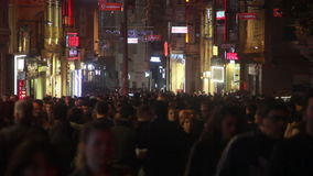 Istanbul city/night /crowd / People/ time lapse/istiklal street/ december 2015. Crowd / People/ time lapse/istiklal street/december 2015 / istanbul HD 1080 stock video footage