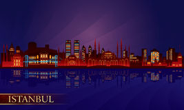 Istanbul city night skyline Stock Images