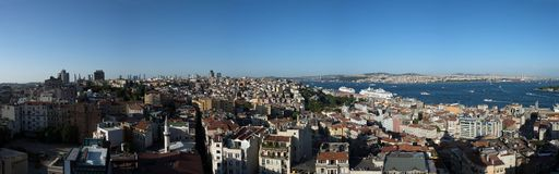 Istanbul city panorama with harbour and cruise ship, Turkey. Istanbul city panorama,Turkey.Aerial View of Istanbul city,harbour and sea from Galata Tower Stock Photography