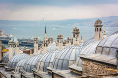 Istanbul city scape. City scape. View from Suleymaniye mosque(otherwise known as the Magnificent Mosque)  to Bosphorus, Istanbul, Turkey Stock Photo