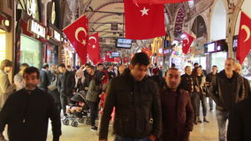 Istanbul city, Shopping, Christmas, People crowded, Istanbul istiklal street, December 2016, Turkey. Turkey, December 2016, HD 1080 stock video