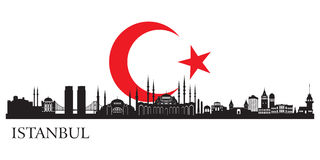 Istanbul city silhouette. Vector skyline illustration Royalty Free Stock Image