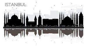 Istanbul City skyline black and white silhouette with reflection Stock Image
