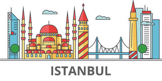 Istanbul city skyline. Buildings, streets, silhouette, architecture, landscape, panorama, landmarks. Editable strokes. Flat design line vector illustration Royalty Free Stock Image