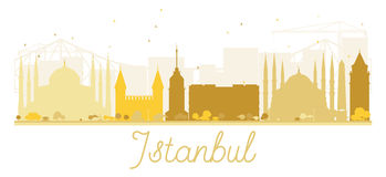 Istanbul City skyline golden silhouette. Stock Images