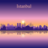 Istanbul city skyline silhouette background Royalty Free Stock Image