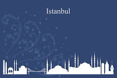 Istanbul city skyline silhouette on blue background Royalty Free Stock Photography
