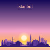 Istanbul city skyline silhouette on sunset background Stock Image