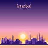 Istanbul city skyline silhouette on sunset background Stock Image