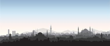 Istanbul city skyline. Travel Turkey background. Turkish urban c. Istanbul city skyline. Travel Turkey background. Urban panoramic view. Cityscape with famous Royalty Free Stock Photo