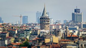 Istanbul city skyline in Turkey, Beyoglu district old houses wit. H Galata tower on top, view from the Golden Horn royalty free stock image