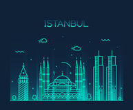 Istanbul City skyline vector illustration line art Royalty Free Stock Images