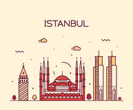 Istanbul City skyline vector illustration line art Royalty Free Stock Image