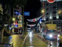 Istanbul city streets at night stock image