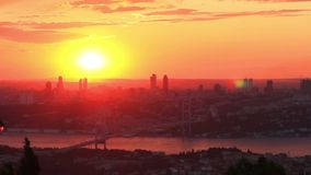 Istanbul City on Sunset. Timelapse Stock Image