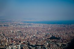 Istanbul city top view from the plane royalty free stock photos