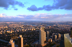 Istanbul city view at an altitude of 280 m. Istanbul city views at a height of 280 mt, sapphire sunset from the terrace looking shopping center photo royalty free stock images