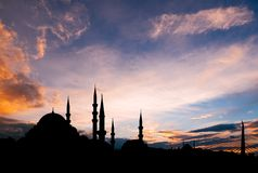 Istanbul cityscape with famous mosque at sunset. Istanbul cityscape with famous Suleymaniye mosque at sunset Stock Photo