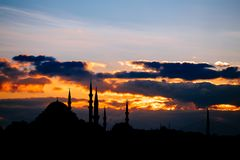 Istanbul cityscape with famous mosque at sunset Royalty Free Stock Photography