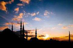 Istanbul cityscape with famous mosque at sunset. Istanbul cityscape with famous Suleymaniye mosque at sunset Stock Images