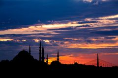 Istanbul cityscape with famous mosque at sunset. Istanbul cityscape with famous Suleymaniye mosque at sunset Royalty Free Stock Photography