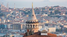 Istanbul cityscape with Galata Tower and mass housing in Golden Horn, istanbul, Turkey royalty free stock photos