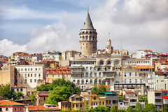 Istanbul Cityscape and Galata Tower. Istanbul cityscape in Turkey with Galata Tower, 14th-century city landmark in the middle royalty free stock photos