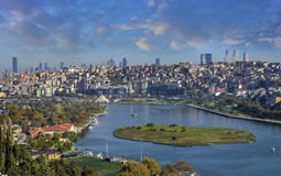Istanbul cityscape from Pierre Loti Hill on a bright, sunny morning. royalty free stock photos
