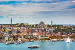 Istanbul cityscape. Cityscape of Istanbul with Suleimanie mosque and part of Golden horn Royalty Free Stock Image