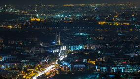 Istanbul classical night skyline scenery timelapse, view over Bosporus channel. stock video