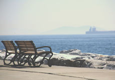 Istanbul coast and an empty bench Royalty Free Stock Images