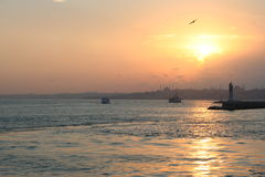 Istanbul Coast on Sunset Stock Photo