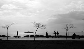 Istanbul Coast View. A view from Istanbul Moda Coast Kadikoy Royalty Free Stock Photography