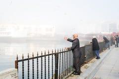 Istanbul dans un brouillard enfumé Photos libres de droits