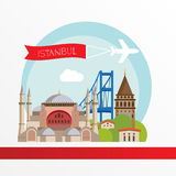 Istanbul detailed silhouette. Trendy stylish colorful landmarks. The concept for a web banner. Stock Photos