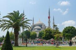ISTANBUL, die TÜRKEI - 3. August 2016: Ansicht der blauen Moschee (Sultanahmet Camii) Lizenzfreie Stockbilder