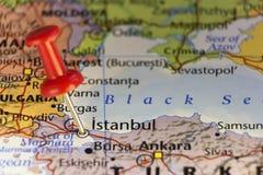 Istanbul die Türkei, festgesteckte Karte Lizenzfreies Stockbild