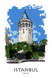 ISTANBUL, die TÜRKEI - Galata-Turm Hand schuf Skizze stock abbildung