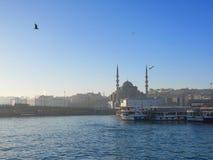 ISTANBUL, DIE TÜRKEI - 5. MÄRZ 2017: Nebelige Morgenansicht einer Moschee in Istanbul nahe touristischem Hafen Stockfoto