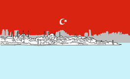 Istanbul Downtown Panorama Outline Sketch Royalty Free Stock Image