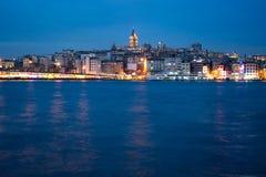 Istanbul at dusk. Istanbul panorama long exposure at dusk Royalty Free Stock Images