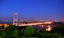 Istanbul at Dusk. The Bosphorus Bridge that connects Europe and Asia Royalty Free Stock Photo