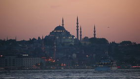 Istanbul at dusk, Turkey. Mosque in Istanbul at dusk, Turkey stock video footage