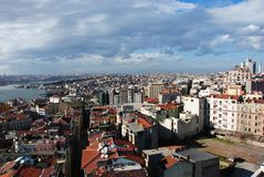 istanbul för galata 3 torn royaltyfri bild